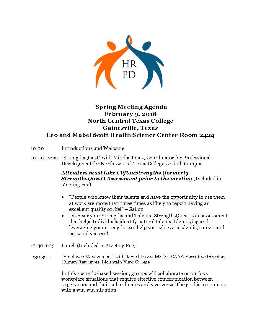 HRPD 2018 Spring Meeting Agenda